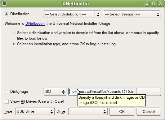 Full UNetbootin screenshot